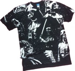 """The Dark Side Awaits""    Darth Vader All Over Print    Star Wars T Shirt, X Large Clothing"