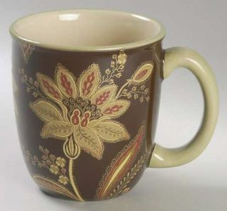 Jaclyn Smith Turkish Floral Brown Mug, Fine China Dinnerware   Traditions,Brown