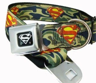 "Green Camouflage Superman Logo Seat Belt Buckle Dog Collar 1.5"" x 13 18"" : Pet Collars : Pet Supplies"