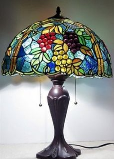 "Handcrafted Bountiful Tiffany Style Stained Glass (739 pieces) Table / Desk Lamp 16""W X 23""H"
