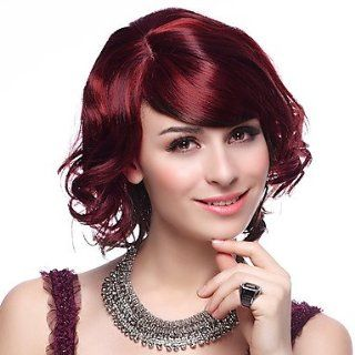 Capless High Quality Synthetic Short Wine Red Hair Wigs : Hairpieces : Beauty