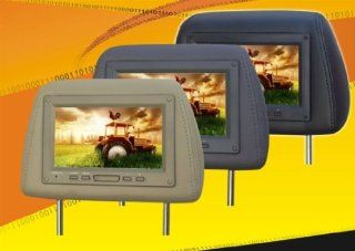 """Pair of Brand New Tview T725pl tan Car Headrests with 7"""" Tft lcd Monitors Pre installed + Dual Sensor Ir Transmitter Built in 2 Free Remotes + Wiring Included 16:9 Wide Screen Mobile Theater Display : Vehicle Headrest Video : Car Electronics"""