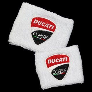 Ducati NEW Corse White Brake and Clutch Reservoir Sock Cover Set Fits 748, 749, 848, 848 Evo, 916, 996, 998, 999, 1098, 1198, ST2, ST3, ST4, Streetfighter, Hypermotard, Multistrada, Monster 1100: Automotive