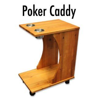 Poker Caddy   Wood Rolling Drink Holder & Table  Sports & Outdoors