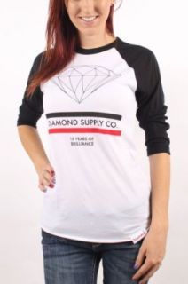 Diamond Supply Co.   Womens 15 Years of Brilliance Raglan Shirt in Black/White, Size: Small, Color: Black/White at  Women�s Clothing store