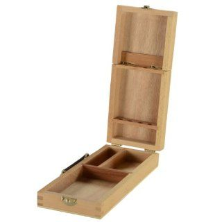 Wood Brush Box with Handle for Artists, 3 Storage Compartments, 4 Brush Holders, Beech Wood   Set of 5