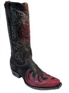 Men's Old Gringo Western Cowboy Boots M948 2 White stitch vesuvio Choc/Red Shoes
