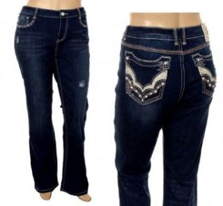 L.a. Idol Women Plus Size Bootcut Jeans Distressed Tribal Stretch in Dark Blue at  Women�s Clothing store: Jeans La Idol