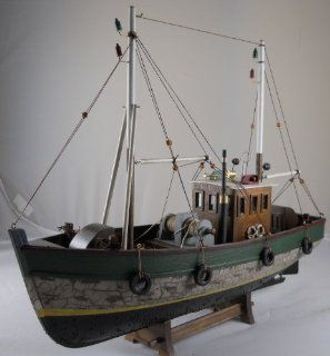 Wooden Fishing Boat Model with Distressed Finish   Home Decor Accents
