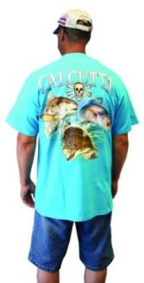 Calcutta Men's Red Drum, Flounder, Speckled Trout Cal 28 Short Sleeve Tee (Caribbean blue, Medium): Clothing