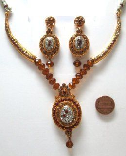 SY10TB Fashion Golden look Brown Rhinestone 3 Pcs Necklace Earring Set Bargains Women India Indian Bollywood Fashion Jewelry Accessories Z Others Earrings For Women Brown Jewelry
