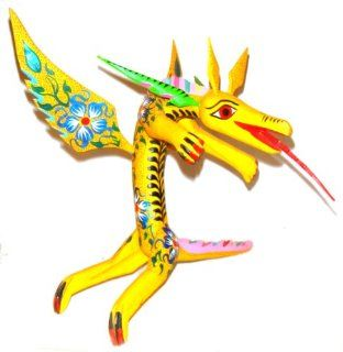 Mexican Folk Art Oaxaca Alebrije Wood Carving Dragon Hand Painted Signed : Other Products : Everything Else