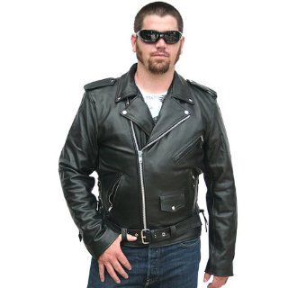 Motorcycle Jackets   Mens Classic Leather Motorcycle Jacket MJ400 Automotive