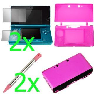 BIRUGEAR Hot Pink Silicone Skin Rubber Soft Case + Hot Pink Aluminum Hard Metal Cover Case + Clear LCD Screen Protector Film Guard + 2x Light Pink Retractable Metallic Stylus for Nintendo 3DS: Video Games