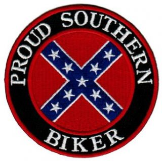 Proud Southern Biker Embroidered Patch Confederate Flag Iron On Motorcycle Emblem: Clothing