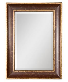 Manuela Distressed Red & Gold Wall Mirror   28.125W x 38.125H in.   Wall Mirrors