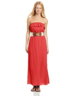 Trixxi Juniors Gauze Maxi Dress With Belt, Red, Small at  Women�s Clothing store