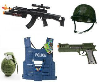 Electric Lights and Sounds AK 47 w/ Scope, Grenade Launcher Toy Gun Toy Gun For Kids, Army Helmet, Blowback Realistic Battery Robocop Pistol, Police Vest, Battey Operated Removable Pin toy Grenade Toys & Games