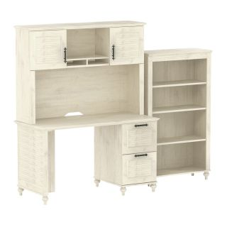 kathy ireland Office by Bush Furniture Small Office Bundle with Bookcase FF Collection   Driftwood Dreams   Desks