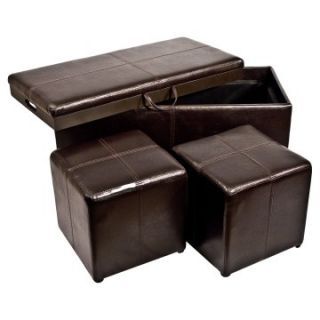 Storage Ottoman Bench with 2 Footstool Cubes and Serving Tray Table   Brown   Ottomans