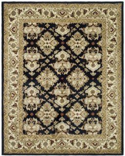 Safavieh HG817A Heritage Collection 6 Feet by 9 Feet Handmade Hand spun Wool Area Rug, Black and Ivory