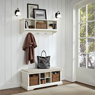 Crosley Brennan Entryway Storage Bench with Storage Shelf   White   Indoor Benches