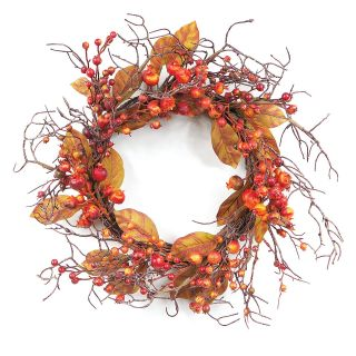 21 in. Berry and Leaves Wreath   Wreaths