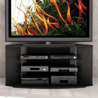 Sonax RX 5500 Rio 55 in. Midnight Black TV Stand with Two Glass Shelves   TV Stands