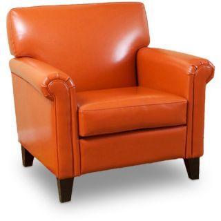 Burnt Orange Classic Leather Club Chair   Club Chairs