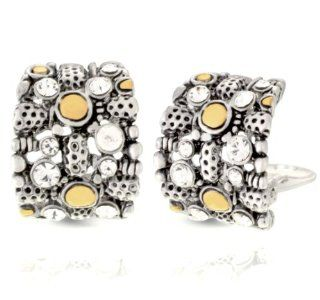 Jankuo Jewelry Two Tone Modern Art Clip On Earrings with Crystals Jewelry