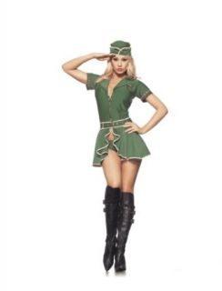 Be Wicked Costumes Women's Army Girl Costume, Green, Medium/Large: Adult Sized Costumes: Clothing