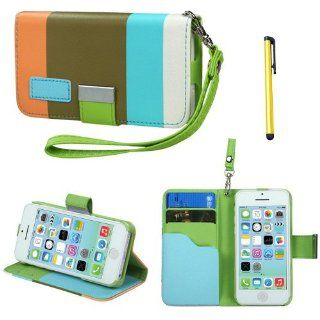 Snap on Cover Fits Apple iPhone 5C Lite Colorful(Sky blue/Olive green/Light orange) Premium Book Style MyJacket Wallet 855 + A Gold Color Stylus/Pen AT&T, Verizon, T Mobile, Boost Moblie, Sprint (does NOT fit Apple iPhone or iPhone 3G/3GS or iPhone 4/4