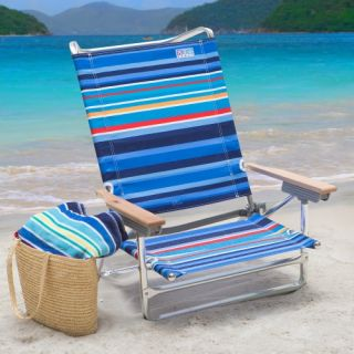 Rio 5 Position Beach Chair   Deep Sea Blue Stripe   Beach Chairs