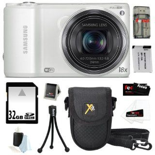 "Samsung WB250F 14.2MP WIFI w/ 3"" Touch Screen Smart Digital Camera in White + 32GB Deluxe Accessory Kit  Point And Shoot Digital Camera Bundles  Camera & Photo"
