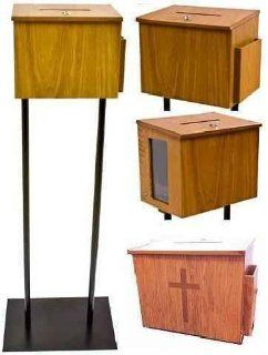 Wood Donation Box on Floorstand with Window  Suggestion Boxes