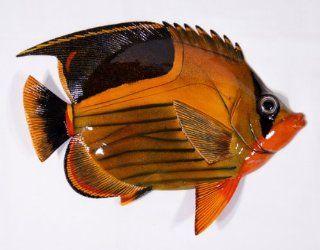 "Handpainted Antique Color Tropical Fish Replica Wall Mount Decor Plaque 12"" #X   Head Sculptures"