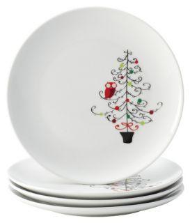 Rachael Ray Dinnerware 4 Piece Salad Plate Set   Hoots Decorated Tree   Tree Pattern   Salad & Dessert Plates