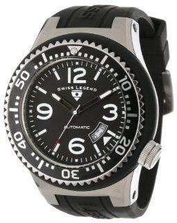 Swiss Legend Men's 11819A 01 W Neptune Automatic Black Dial Black Silicone Watch Watches