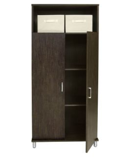 Ameriwood Double Door Pantry Cabinet with Storage Bins   Walnut   Pantry Cabinets