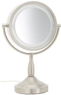 Jerdon LT856N 8.5 Inch Tabletop Two Sided Swivel Halo Lighted Vanity Mirror with 7x Magnification, 16 Inch Height, Matte Nickel Finish  Personal Makeup Mirrors  Beauty