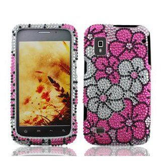 ZTE Warp N860 N 860 Cell Phone Full Crystals Diamonds Bling Protective Case Cover Silver and Pink Floral Flowers Design Cell Phones & Accessories