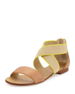 Congo Two Tone Crisscross Ankle Wrap Sandal, Light Tan