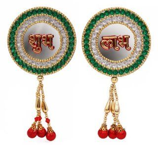 Valentines Day Gifts Mirror themed Shubh Labh in Gold Tone & Faux Kundan   Designer Door Wall Hanging Decorated with Drops Home Decor & Gift Ideas   Wall Decor Stickers