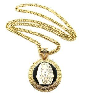 "New PHARAOH KING TUT Pendant w/6mm&36"" Link Chain Hip Hop Necklace XP898CG: Jewelry"