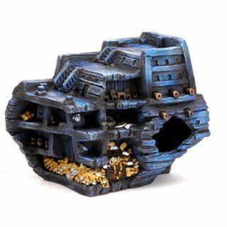 Penn Plax Pirate Treasure Ship Stern, Aquarium design : Fish Tank Decorations Sunken Ship : Pet Supplies