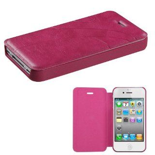 Fits Apple iPhone 4 4S Hard Plastic Snap on Cover Hot Pink Premium Book Style MyJacket Wallet 913 AT&T, Verizon (does NOT fit Apple iPhone or iPhone 3G/3GS or iPhone 5) Cell Phones & Accessories