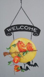"""Halloween Welcome Sign   Escape From Pumpkin Patch   Metal 14""""  Yard Signs  Patio, Lawn & Garden"""