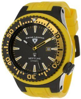 Swiss Legend Men's 11818A BB 01 YBL W Neptune Automatic Black Dial Yellow Silicone Watch Watches