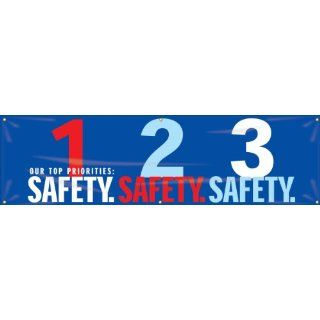 """Accuform Signs MBR951 Reinforced Vinyl Motivational Safety Banner """"OUR TOP PRIORITIES 1 SAFETY 2 SAFETY 3 SAFETY"""" with Metal Grommets, 28"""" Width x 8' Length, Red/Aqua on Blue Industrial Warning Signs Industrial & Scientific"""