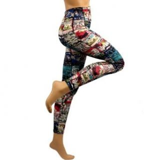 Cat Cartoon Stripes Multi Color Print Leggings Stretch Tights Blue at  Women�s Clothing store